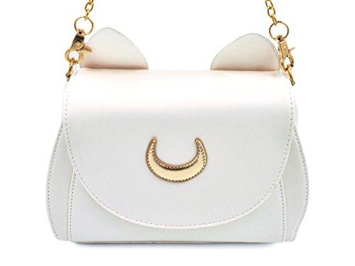 CoolChange Bolso de Sailor Moon con símbolo de la Luna y Orejas de Gato. Color: Blanco