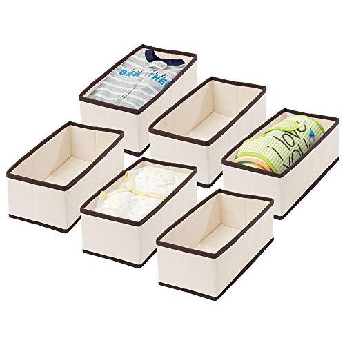 mDesign 6er-Set Aufbewahrungsbox für das Kinderzimmer oder Bad – Faltbare Kinderzimmer Aufbewahrungsbox für Babykleidung – Kinderschrank Organizer aus Kunstfaser – cremefarben und Dunkelbraun