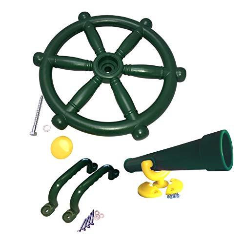 Loggyland Zubehörset für Spielturm Lenkrad + Fernrohr + 2 Handgriffe Sparset Zubehör Set Grün