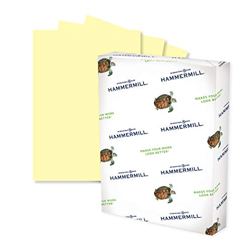 Hammermill Colored Paper, 24 lb Canary Printer Paper, 8.5 x 11-1 Ream (500 Sheets) - Made in the USA, Pastel Paper, 104307R