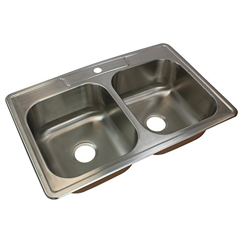Transolid CTDE33228-1 Kitchen Sink, 33-in x 22-in x 8-in, Stainless Steel