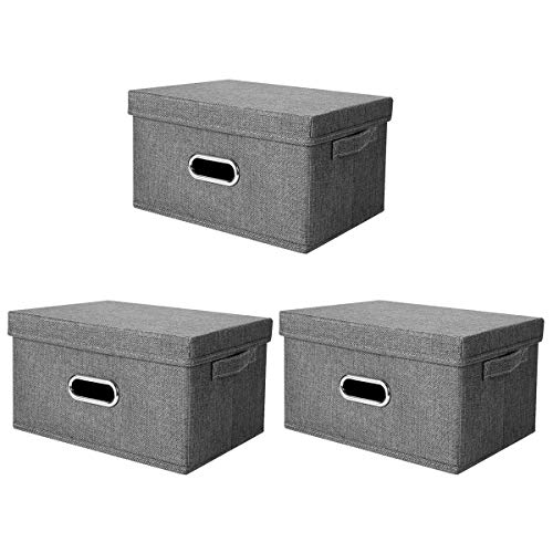 ANMINY 3 PCS Storage Boxes with Handles Removable Lids PP Plastic Board Foldable Lidded Cotton Linen Home Storage Cubes Bins Baskets Closet Clothes Toys Organizer Containers - Gray, Large Size