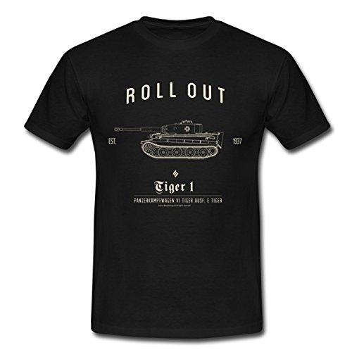 World of Tanks Panzer Roll Out Tiger I Männer T-Shirt, XL, Schwarz