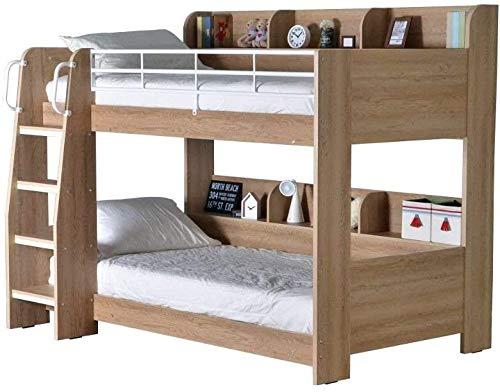 Cajón de almacenamiento de doble capa Cama de madera, roble gris y madera blanca Lista moderna de dos pies de dos pies (90 x 190 cm),C