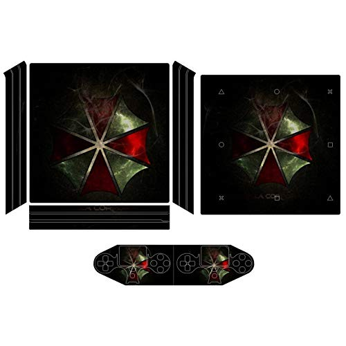 Umbrella Corp Smoke Resident Evil PS4 sticker skin, console and controller full protection, accurate hole position and whole body decals are suitable for PS4 pro