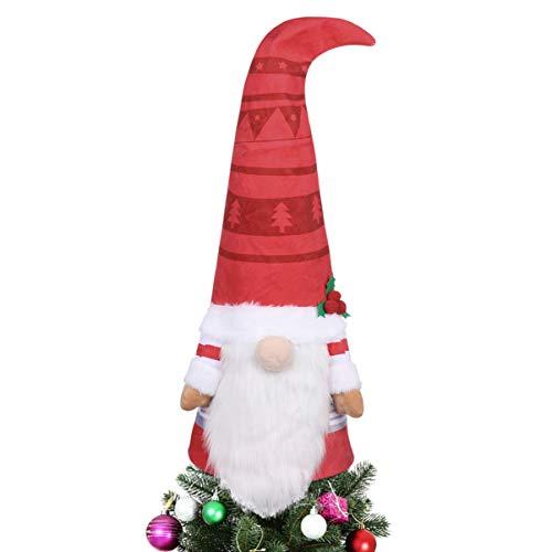 Gnomo Topper per albero di Natale Toyvian Snata Grande Gnomo Bambola Gnomo Treetop Ornamento Natale Vacanze Decorazione Casa