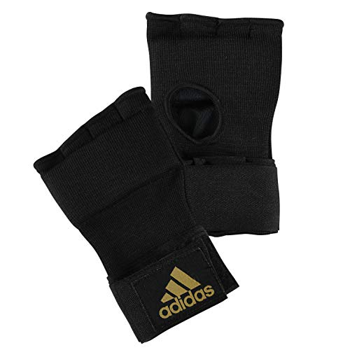 adidas, Sottoguanti da boxe Super, Nero (black/yellow trim), S