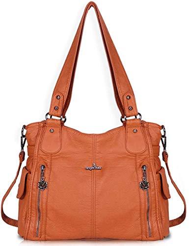 Angel Barcelo Damen Handtasche Schultertasche PU Leder Top Griff Satchel Tote Bag (Y1193-Brown)