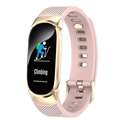 Mujer Smart Watch Sport Pedómetro SmartWatch Presión Arterial Monitor De Ritmo Cardíaco Monitor Fitness para Xiaomi Android iOS (Color : Pink)