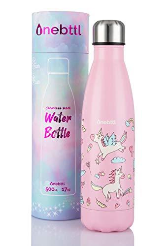 Unicornio Botella Agua sin bpa niños Acero Inoxidable, Cosas de Unicornios para niñas cumpleaños y Fiesta Destello,...
