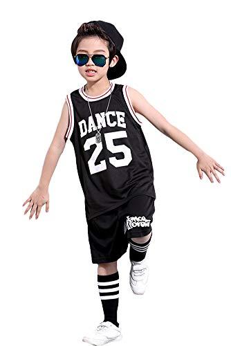 Jungen Street Dance Klamotten,Hip Hop,Kinder Sommer Kleidung Set, Sporthemd Tank Top & Shorts Set