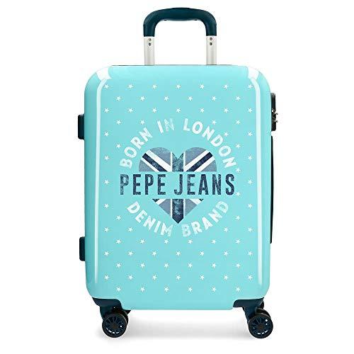 Pepe Jeans Emory Maleta de cabina Azul 40x55x20 cms Rígida ABS Cierre combinación 37L 2,6Kgs 4 Ruedas dobles Equipaje de Mano