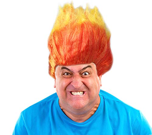 Two Toned Flame Wig Orange and Yellow Flame Wig Anger Wig Fire Wig Anger Costume