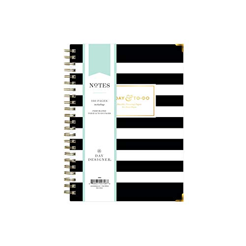 """Day Designer for Blue Sky Today To-Do Notebook, 160 Ruled Pages, Twin-Wire Binding, Hardcover, 5.75"""" x 8.5"""", Black Stripe"""