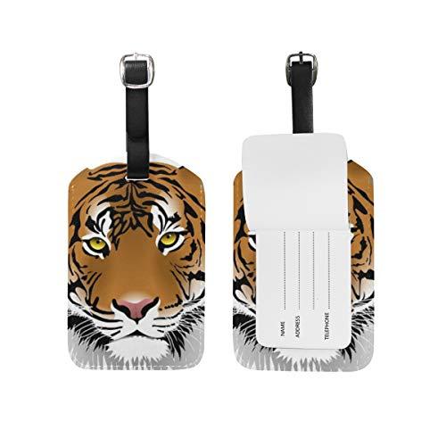 LORONA Tiger Head Etiquetas de equipaje Cuerdas Etiqueta de identificación de viaje para equipaje de mano de maleta, 1 unidad