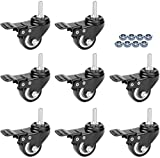 Mysit 2' Stem Casters, Swivel Stem Casters PU Foam Quite Mute No Noise Castors, Heavy Duty Screw Thread Caster Wheels for Carts Trolley Furniture Pack of 8 with Brake (CasterBrake50_10x25_8)