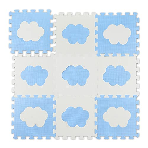 Relaxdays Tapis 18 pièces de Puzzle en Mousse EVA Non Toxique Blanc/Bleu 91,5 x 91,5 cm, 10037473_361