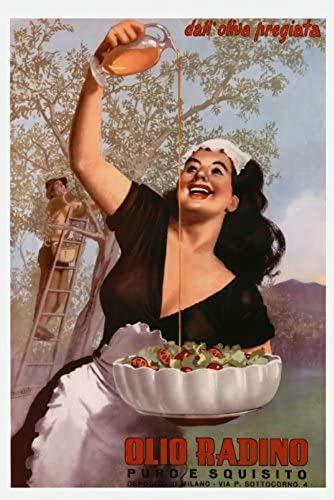"CANVAS FOOD Restaurant Kitchen Art Italian Lady Olive Oil Olio Radino Salad Milan Milano Italy Italia Food 12"" X 16"" Image Size Vintage poster on CANVAS We have other"