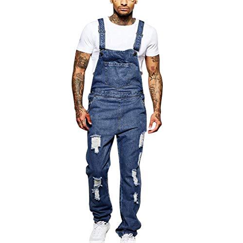 Malloom- Bekleidung Lochtaschenjeans für Herren Overall Jumpsuit Streetwear Overall Suspen Pants Denim Hole Washed Strap Jumpsuit Blue S/M/L/XL/2XL/3XL