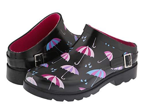 Capelli New York Ladies Umbrella Rainy Day Printed Slip On Rain and Gardening Clogs Black Combo 6