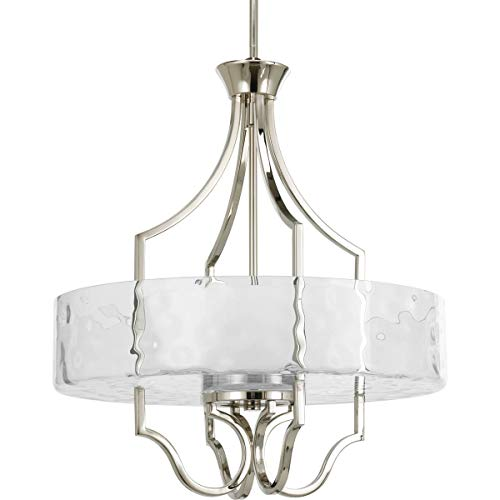 Progress Lighting P3682-104 Transitional Three Light Inverted Pendant from Caress Collection in Polished Nickel Finish