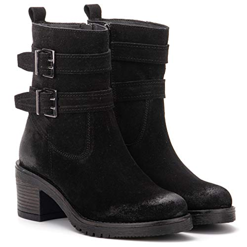 Vintage Foundry Co. Charmaine Women's Fashion Classy Elegant Biker Rugged Black Leather Side Zip Buckled Ankle-Boots, Round-Toe, Chunky Heels Platform, Rubber Lug Sole; Size 6.5