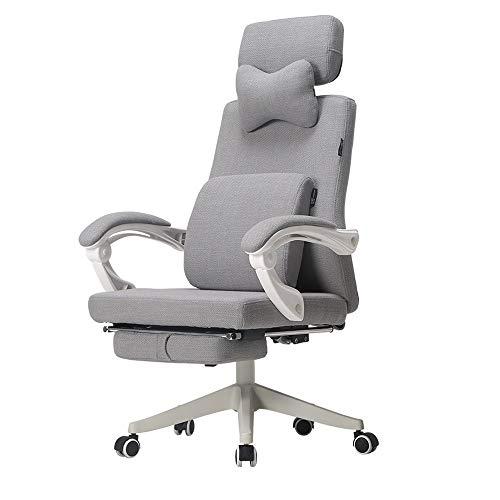 Gaming Racing Chair Grijs verstelbare stof computer stoel thuis lunch pauze liggende bureaustoelen vrije tijd draaibare rocker hoofdsteun lumbale tilt e-sport stoel lift stoel 170 °liggende (voetsteun)