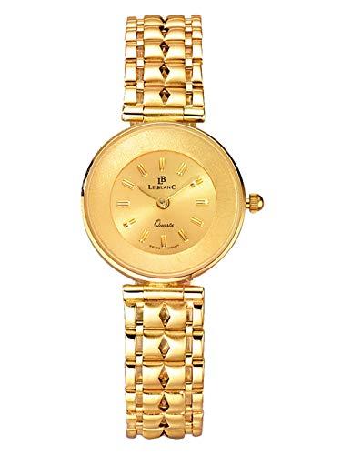 Le Blanc Damen Analog Uhr in 585 Gold (14 Karat) mit Armband in Gelb aus 585 Gelbgold