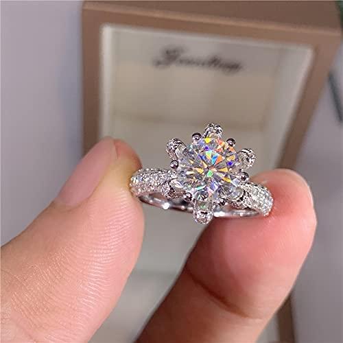 YANGYUE Anillo de Compromiso de Diamantes de 5 Quilates para Mujer, Oro Blanco de 14 Quilates, Plata esterlina, Anillos de moissanita Nupcial, Alianza de Boda