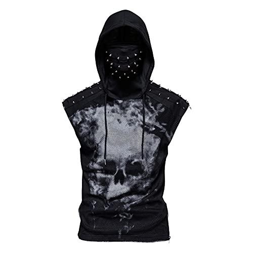 CFWL Fitness-Sport-Sweatshirt-Druck-Punk-Ninja-Anzug Mit Kapuze äRmelloses T-Shirt Gesichtsmaske Fahrradanzug Schwarz XL