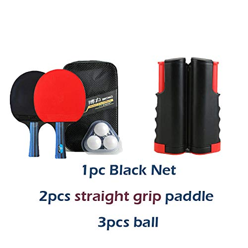 Review QIEZI ping Pong net 2Pcs Paddle 3 Balls Portable 1 Tennis Net Table for Any Table Tennis Rack...