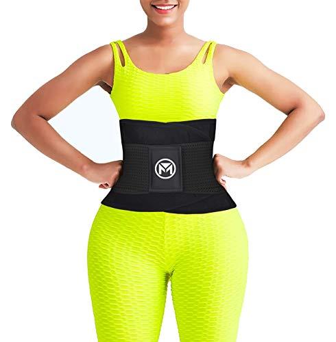 Moolida Waist Trainer Belt for Women Sauna Sweat Neoprene Waist Trimmer Weight Loss Workout Fitness Back Support Belts (Black,Medium)
