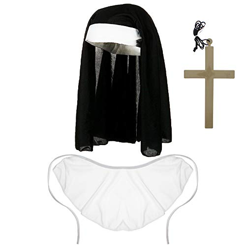 Zac's Alter Ego Womens/Ladies Halloween Nun Headpiece, Cross Necklace & Collar Accessories Set
