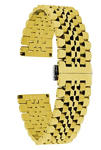 Bandini 22mm Gold Tone Stainless Steel Watch for Men - Metal Replacement Watch Strap - Ajustable Length - Invisible Double Locking Clasp - Link Removal Tool Included