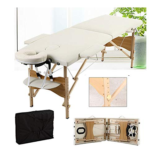 Massage Table Massage Bed Portable 2 Section Folding Couch Bed Lightweight Adjustable for Height Beauty Salon Tattoo Therapy, 230kgs/500lbs Max Weight Capacity, Wooden Frame -Beige