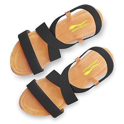 DAYDAYGO Women's Elastic Flat Sandals, Black Flat Sandals for Women, 6