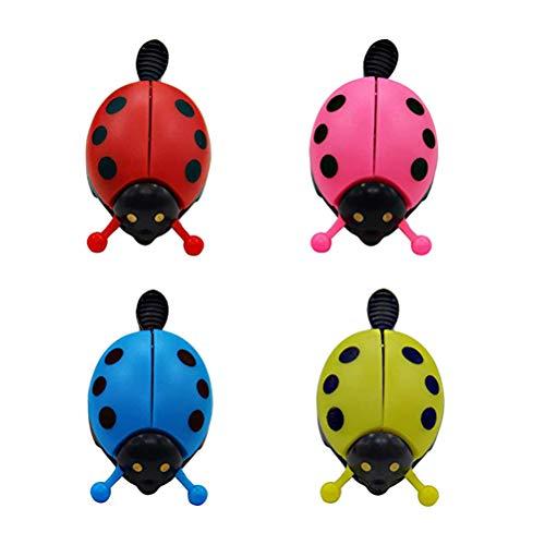 LIOOBO 4 Piezas de Lady Ladybird Lady Bug Bells para niños en Bicicleta Timbre de la Campana Ringer Accesorios de Bicicleta (Rojo, Amarillo, Rosa, Azul)