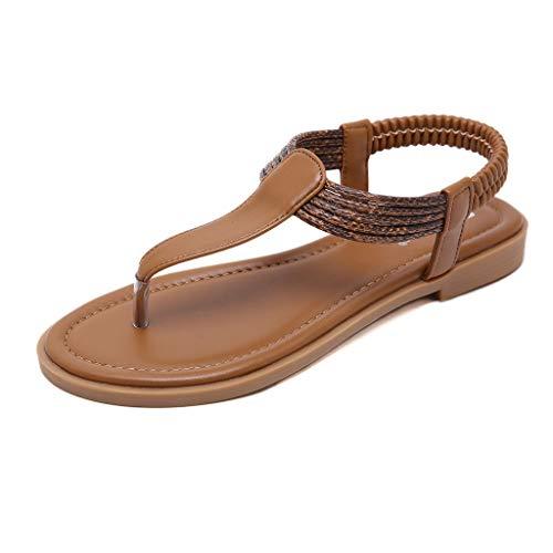 Dorical Damen Sommer Sandalen/Flip Flops Flach Clip Toe Sandaletten Schwimmbadschuhe Outdoor Casual Hausschuhe Strandschuhe Badeschlappen/Valentinstag Beach-Schuhe (Braun,40 EU)