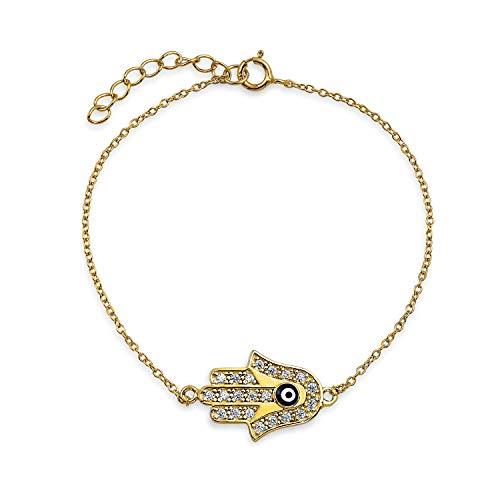 Türkische Schmal Böser Blick Hamsa Hand Charm Armband Für Jugendlich Damen Zirkonia 14K Vergoldet 925 Sterling Silber