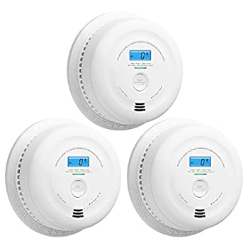 X-Sense SC08 10-Year Battery Smoke and Carbon Monoxide Detector Alarm with LCD Display Dual Sensor Smoke and CO Alarm Complies with UL 217 & UL 2034 Standards Auto-Check Pack of 3