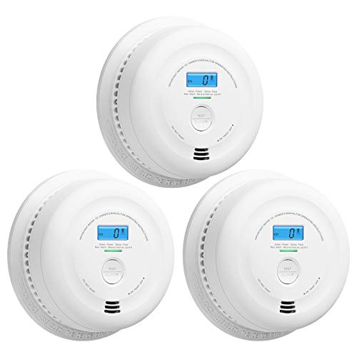 X-Sense SC08 10-Year Battery Smoke and Carbon Monoxide Detector Alarm with LCD Display, Dual Sensor Smoke and CO Alarm Complies with UL 217 & UL 2034 Standards, Auto-Check, Pack of 3