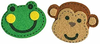 Fun Self Adhesive Dimensional Felt Monkey and Frog Face Stickers for Crafting and Embellishing- Package of 64