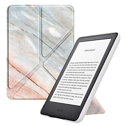 MoKo Case Fits All-New Kindle (10th Generation - 2019 Release Only), Leather Hands-Free Standing Origami Shell Cover with Auto Wake/Sleep, Will Not Fit Kindle Paperwhite 10th Generation 2018 - Marble
