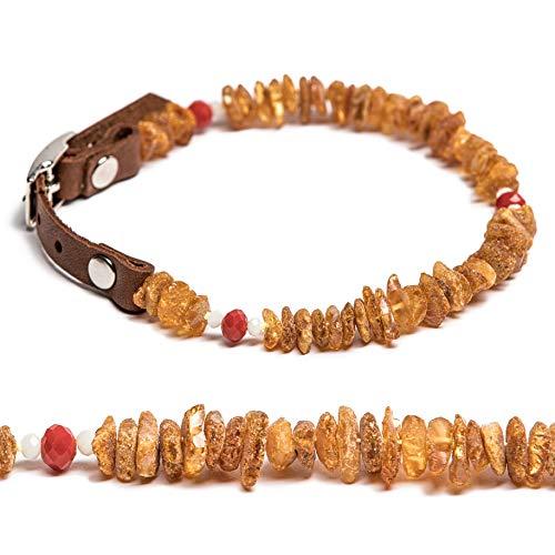 Bernsteinkette für Hunde und Katzen mit Lederschließe, 100% natürliches Flohzeckenabwehrmittel. Bernsteinhalsband von AmberNeck (50-55 cm)