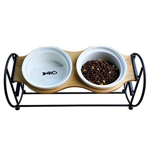 BUJINYUN ペットボウル 猫 食器2段階調整 自然木製 食べやすい 猫用 フード ボウル 食器台 小型犬 エサ入れ 斜め ネコ 餌 台 ねこ 餌入れ 皿陶器 (黒)