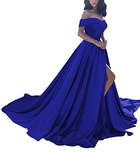 Scarisee Women's A-line Off Shoulder Prom Evening Dresses with High Split Formal Long Wedding Party Gowns Royal Blue 26W