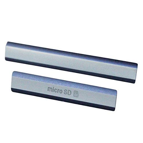 Xperia Z2 SO-03F キャップ カバー パーツ 2点 セット ( Micro SD / Micro USB 兼 SIM スロット ) (ブラック)