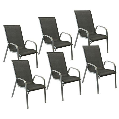Happy Garden Lot de 6 chaises Marbella en textilène Gris - Aluminium Gris