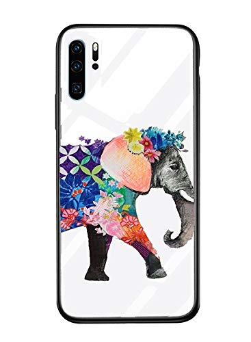 Caler cover compatibel met Samsung Galaxy A40 hoes 9H gehard marmer glas achterkant met TPU frame beschermhoes ultra dunne hoes voor mobiele telefoon [stootvast] slim krasbestendig shell case, Indischer Elefant