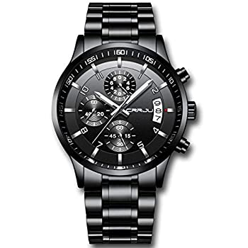 CRRJU Men s Watch Fashion Business Chronograph Quartz Wristwatches,Luxury Stainsteel Steel Band Waterproof Watch for Men Black dial